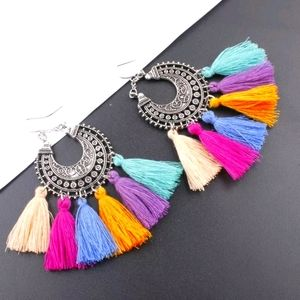 Colorful Boho Tassle Hoops
